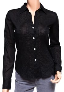 Theory Cotton Contrast Button Down Shirt Black