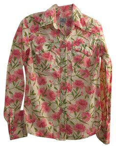 Lucky Brand Western Carnations Floral Pearl Snap Buttons Button Down Shirt White & Pink
