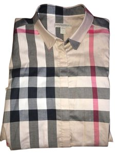 Burberry Button Down Shirt Taupe Brown