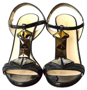 Prada Gem Heels Size 38 Patent Leather Black Sandals