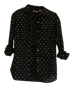 Uniqlo Button Down Shirt black/cream dot
