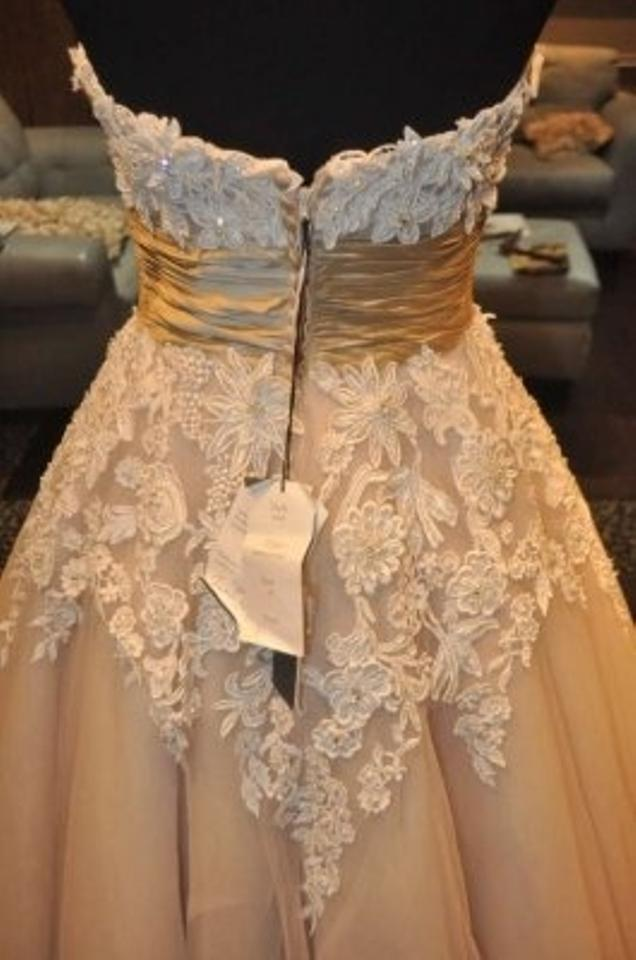 Justin Alexander Coffee And Ivory Tulle Venice Lace 8465