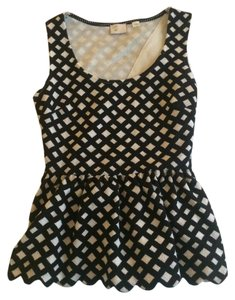 Anthropologie Peplum Peep Back Top black/white