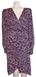 BCBG Paris High Low Wrap Sleeve Slits Printed Dress