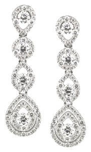18K White Gold 1.73Ct Diamond Dangle Drop Earrings 4.8 Grams