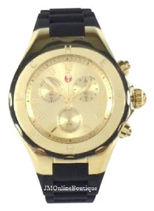 Michele Michele MWW12F000034 Gold Plated Black Silicon Watch NEW! $395
