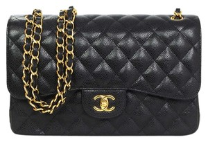 Chanel Jumbo Flap Caviar Leather Gold Hardware Shoulder Bag