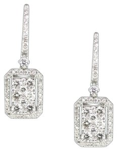 Other 14K White Gold 1.85Ct Diamond Rectangle Dangle Earring 6 Grams