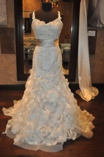 Justin Alexander Oyster/Ivory Regal Satin 8642 Wedding Dress Size 8 (M)