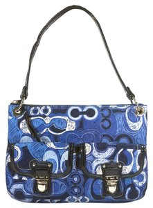 Coach Canvas Poppy Patent Leather Tote in Blue