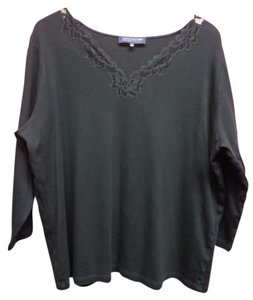 Jones New York 3/4 Sleeve Lace Top Black