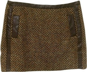 MM Couture Miss Me Tweed Diamond Gold Tan Leather Faux Leather Trim Pockets Mini Ladies Women Misses Girls Fall Spring Winter Mini Skirt Brown