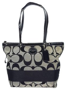 Coach Stripe Signature Jacquard Patent Leather Silver Hardware Tote in Black