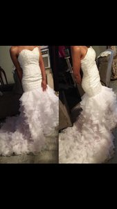 David's Bridal White Beaded Mermaid Dress With Pedal Trail Wedding Dress
