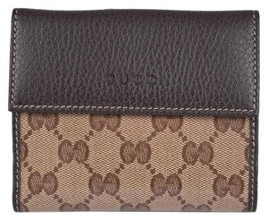 Gucci Gucci Women's 143387 Crystal Canvas GG Guccissima French Wallet