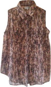 Claudia Richard Office Sleeveless Sheer Bohemian Boho Top