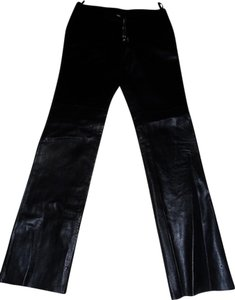 Hugo Buscati Leather Straight Pants Black
