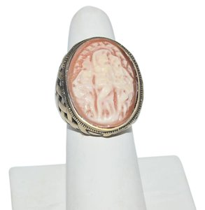 AMEDEO AMEDEO Basketweave Carved Shell Cameo Ring Size 8