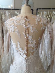 Pronovias Off White/Beige Lace Pladie Feminine Wedding Dress Size 8 (M)