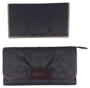 Coach F46360 Ashley Signature Lurex Checkbook Wallet in Charcoal Grey