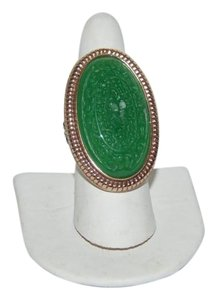 Amy Kahn Russell Amy Kahn Russell Carved Green Quartzite 2-Tone Bronze Ring Size 8