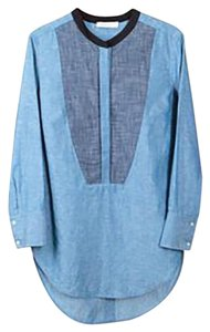 Sandro French Chambray Office Casual Top navy