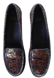 Stuart Weitzman Crocodile Alligator Loafer Brown Flats