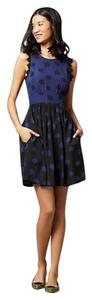 Anthropologie short dress Black and Blue Polyester on Tradesy