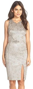 Theia Silver Brocade Sheath Racer-back Dress