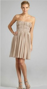 Carven Silk Strapless Pleated Dress