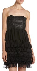 Alice + Olivia Silk Embellished Ruffle Dress
