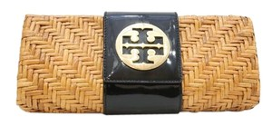 Tory Burch Straw Black Tan Clutch