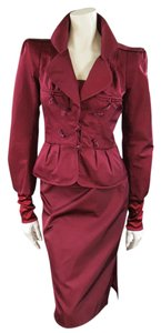 Saint Laurent by TOM FORD 8 Burgundy Silk Satin Fall 2004 Skirt Suit