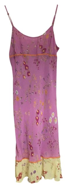 Item - Lavender and Yellow Mid-length Short Casual Dress Size 4 (S)