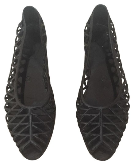 edc7e02b3fba black-lattice-jelly-sandal-flats by american-apparel
