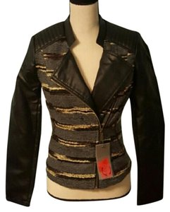 Celsius Faux Leather Mixed Media Contrast Edgy Gray & Black Knit Jacket