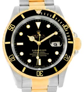Rolex Rolex Submariner Steel 18K Yellow Gold Black Dial Mens Watch 16613