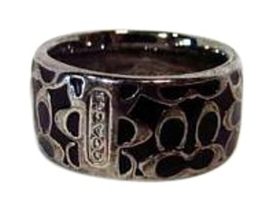 Coach Silver Toned Metal Signature Band Ring