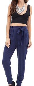 Forever 21 Harem Soft Joggers High Waisted Harem Trousers Relaxed Pants Navy