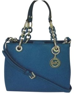 Michael Kors Cynthia Small Leather Satchel in Deep Teal
