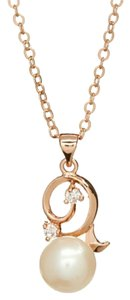 PearlsOnly White Pearl & Cubic Zirconia Edna Pendant Necklace