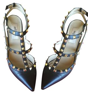 Valentino Leather Studded Strappy Black Pumps