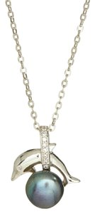 PearlsOnly Black Pearl & Cubic Zirconia Dolphin Pendant Necklace