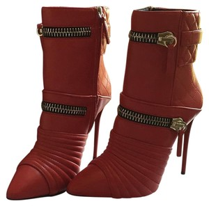 Giuseppe Zanotti Red with sliver tone zippers Boots