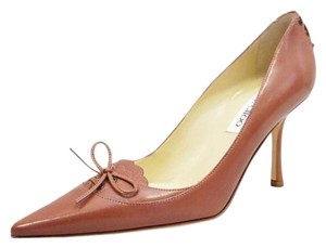 Jimmy Choo Pointed Toe Leather Classic Mauve Brown Pumps