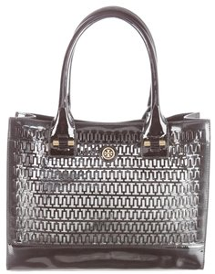 Tory Burch Patent Leather Gold Hardware Reva Perforated Tote in Black, Gold