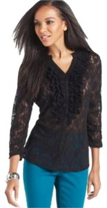 Style & Co Cardigan Lace Top Black
