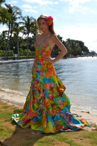 J.Crew 100% Silk One Of A Kind Hand Painted In Tropical Colors. Perfect Gown For Bohemian Beach Style/ Destination Wedding.. Wedding Dress