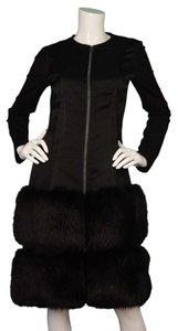 Lanvin Fox Fur Drop Waist Wool Silk Dress