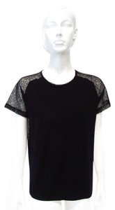 Nally & Millie Casual Lace Blouse T Shirt Black